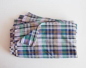 Lightweight Cotton Plaid Fabric - by the yard, Vintage Fabric Yardage, Blue Green Purple, Yardage Fabric