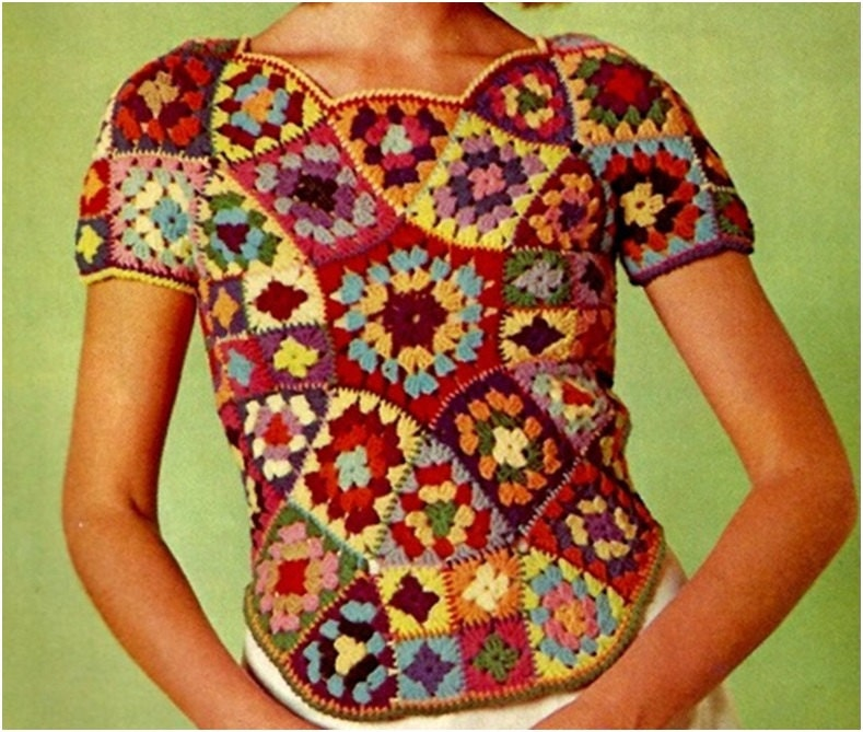 Crochet TOP Pattern Vintage 70s Crochet Granny Square Top