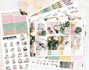 Rosie's Blushing set kit weekly stickers - Erin Condren VERTICAL Planner - floral flowers coral peach pink fashion glitter roses green
