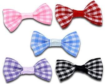 Set of 2 bows black-and-white gingham 30X15mm fabric