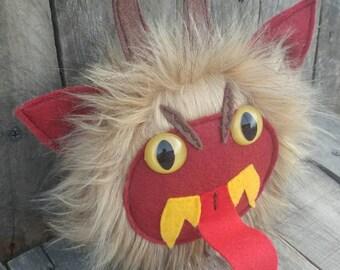 Stuffed monster, Krampus, Krampus plush, plush Krampus, stuffed animal, monster, Krampus monster