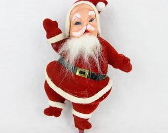 Vintage Flocked Dancing Santa / Mid Century, 1950's, 1960s / Plastic Face / Tree Ornament / Red Black White / Christmas Home Decor / Japan