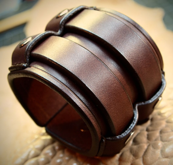Leather cuff Bracelet 2.5 Inch Wide rich brown bridle leather wristband Custom made for YOU in New York by Freddie Matara