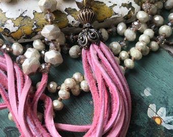 Valentines Day PINK softest deerskin tassel Shabby BoHo style/Romantic Glam necklace by MarleeLovesRoxy