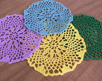 Crocheted Drink Coasters or Scatter Doilies Bright Party Colors