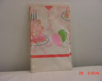 Vintage Happy Birthday Party Paper Tablecloth In Original Package  18 - 213
