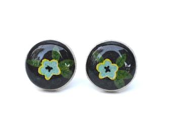 Black and Blue Flower Stud Earrings. Black Earrings. Black Stud Earrings. Flower Earrings. Flower Studs.  Wood Earrings. Starlight Woods