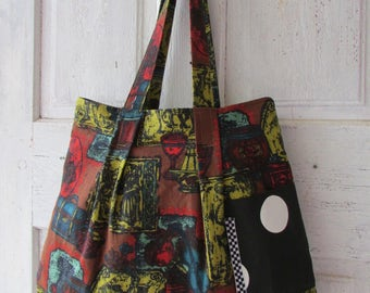 Handmade shoulder bag vintage fabric medieval themed tote with side pockets