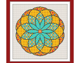 Buy 1 get 1 free. Mandala Cross Stitch Pattern, Geometric cross stitch pattern. (#P- 1242), modern cross stitch. INSTANT DOWNLOAD