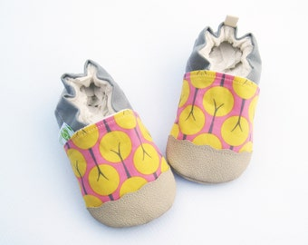 Organic Vegan Aspen in pink / non-slip soft sole baby shoes / made to order / babies toddlers preschool