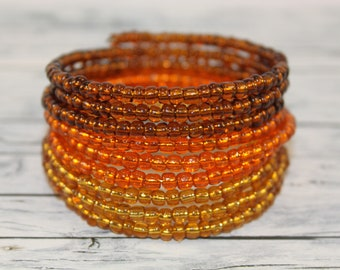 Autumn - transparent brown, orange and yellow glass beads memory wire bracelet