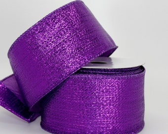 "10 yards Purple Metallic Halloween Wire Edge Ribbon - 2.5"" Wide Ribbon, Ribbon for Wreaths, Mardi Gras Ribbon, Christmas Ribbon"