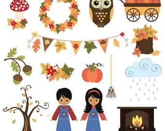 50%OFF Fall and Thanksgiving clip art 2, fall harvest clip art, commercial use clipart, Thanksgiving holidays clipart, C304