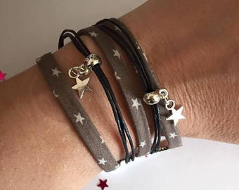 Jewelry Ribbon cuff Bracelets and charms Taupe black tone