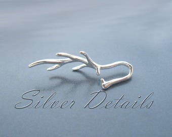 Sterling Silver 925 Asymmetric Branch Pinch Bail for Pendant with Swarovski Crystals Finding reference code B64S