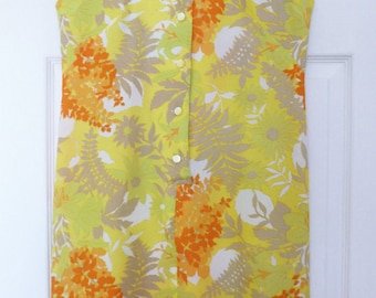 Vintage Terry of Chicago Yellow Floral Summer Sleeveless Dress Vintage Polyester Chiffon 1960s