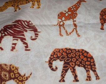 """Jungle Animals Elephant, Lion, Giraffe and More 100% Cotton  44"""" Wide Sold By The Half Yard"""
