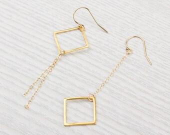 Square Earrings • Long Gold Earrings • Gold Dangle Earrings • Boho Earrings • Geometric Earrings • Bridesmaid Earrings | 0088EM