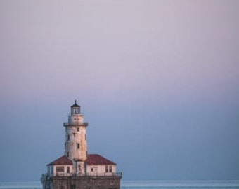 The Chicago lighthouse during sunset. Chicago, IL. Photography Print. Portrait. Wall Art. Home Decor. Urban. Nightscape. Nature. Lake.