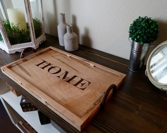 Home Serving Tray - Farmhouse Serving Tray - Wood Serving Tray - Rustic Wood Tray - Farmhouse Decor - Coffee Table Tray - Ottoman Tray