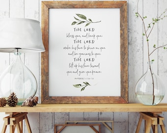 The Lord Bless You and Keep You   Bible Verse   Numbers 6:24-26 Verse   Christian Home Decor   Scripture Print   INSTANT DOWNLOAD #SP35
