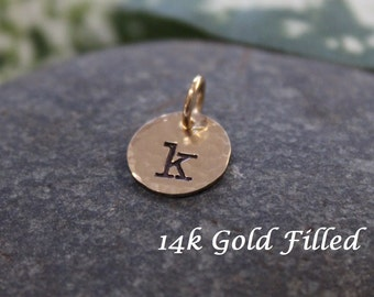 "Gold initial charm - 14k Gold filled initial charm 9.5mm (3/8"") round - textured"