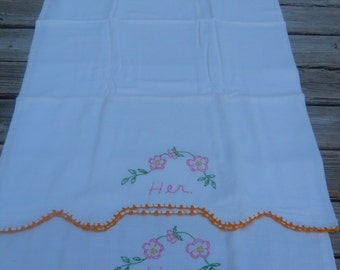 Vintage Pillowcases, His and Hers, Flour Sack, 1930's - 1940's, Embroidered