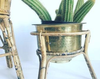 Vintage Bamboo Plant Stand // Rattan Boho Decor