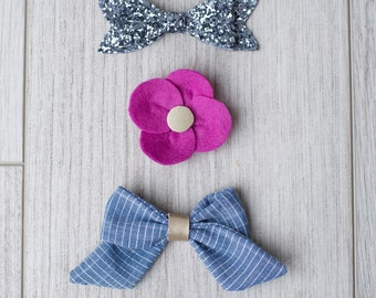 Glitter, felt and fabric bows | girl bows | patterned bow | glitter bows | headband | pink bow | non slip clip | snap clip | mixed fabrics