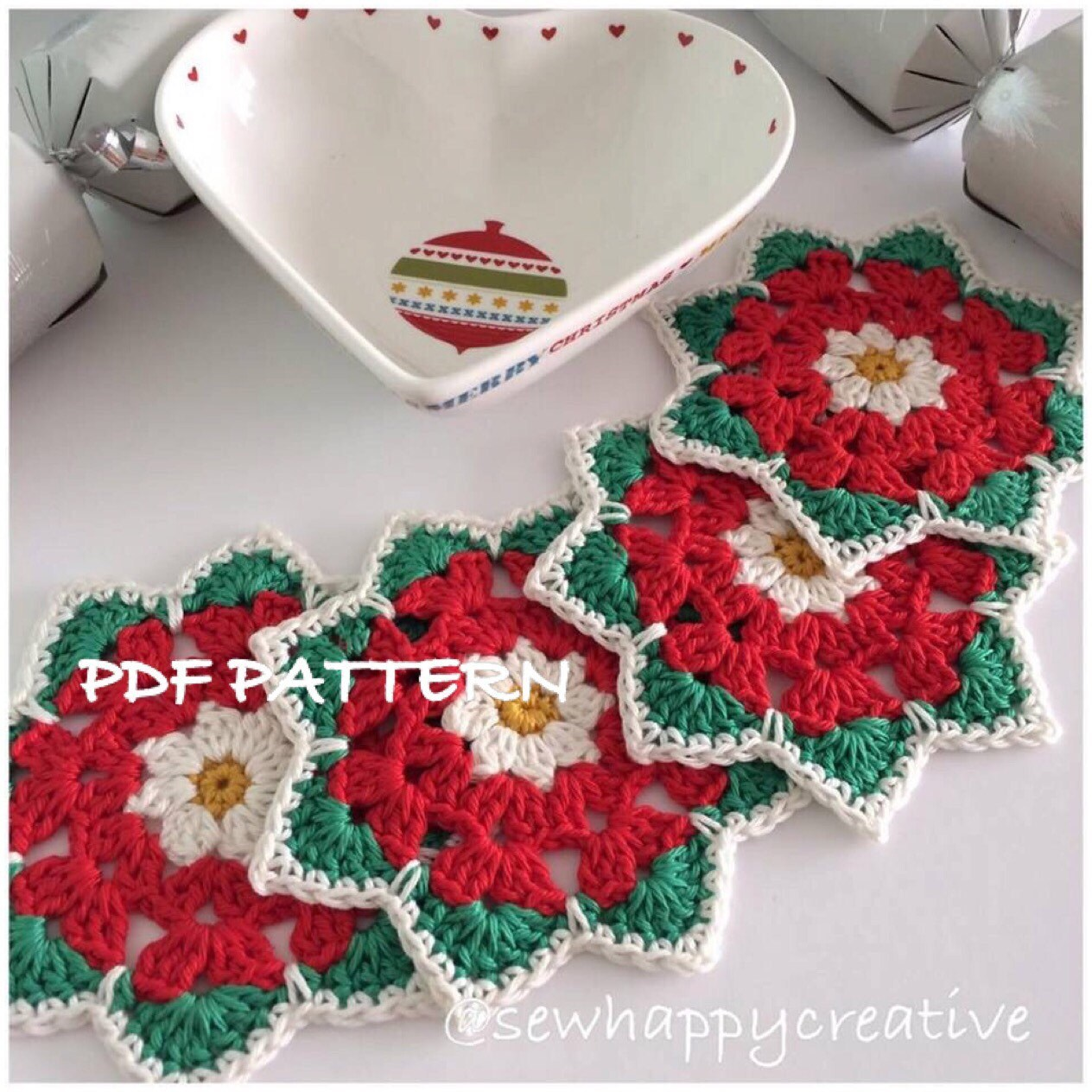 Crochet Coaster Pattern, Christmas Rose Coaster Pattern- Instant ...