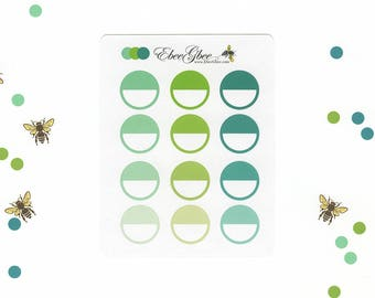 Greens CIRCLE Planner Stickers |  BeeColorful Mint Lime Pine