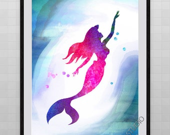 Little Mermaid Watercolor Painting, Archival Fine Art Wall Hanging Chilren Room Decor, Giclee Print Housewarming Gift - Birthday Gift