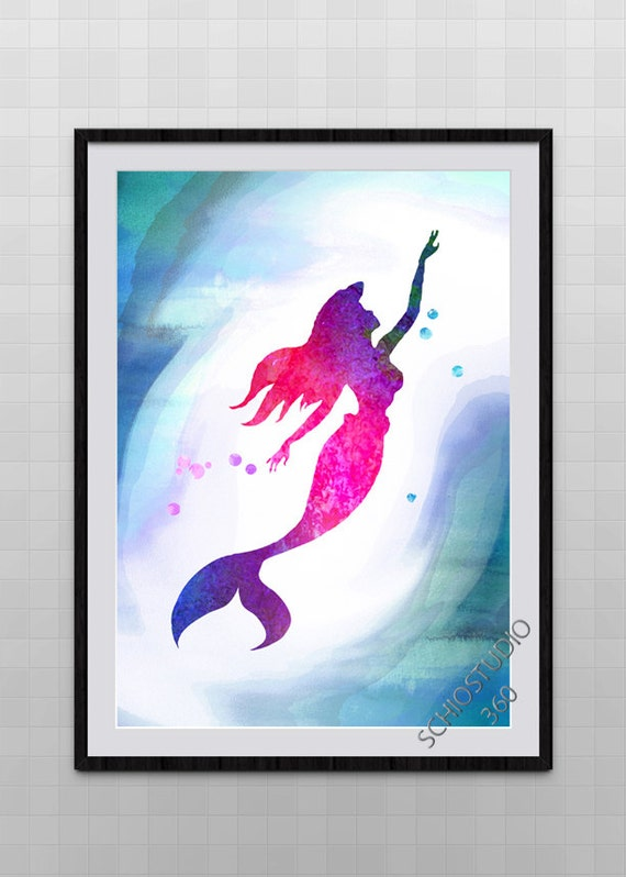 Little Mermaid Watercolor Painting Archival Fine Art Wall