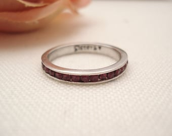 Personalized Eternity Sterling silver Ring...Custom Engravable w/ Ruby CZ, Promise ring, Stackable, wedding band, anniversary ring