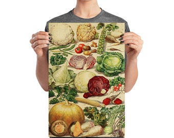 Vintage Art Print Kitchen Poster, Healthy Vegetables Matte Paper 12 by 18 inches