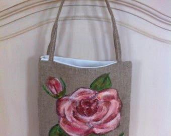 Linen rose motif hand painted bag