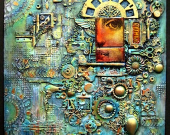 """OOAK Mixed Media Collage Assemblage Wall Art - """" Whispers"""" - approx 12 x 16.5 inches"""