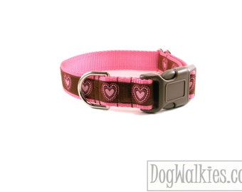 """Chocolate and Pink Hearts - Valentine Dog Collar - 1"""" (25mm) Wide - Martingale or Quick Side Release - Choice of collar style and size"""