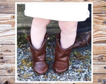 Brown Leather Baby Cowboy Boots   Alligator Texture   Preemie   Newborn   3-6 Month   6-9 Month   9-12 Month   12-18 Month   18-24 Month