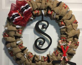Chicago Blackhawks LETS GO HAWKS! Wreath (Red)