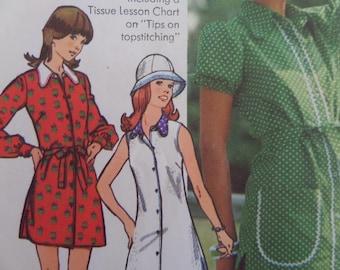 SHIRTDRESS Pattern • Simplicity 5463 • Junior Size • Dog Ear Collar • Mini Dress & Hat • Sewing Patterns • Womens Patterns • WhiletheCatNaps