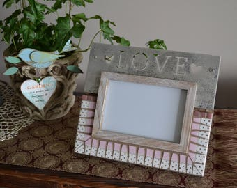 "Love Picture Frame 4"" x 6"" Opening With Broken China Mosaic"