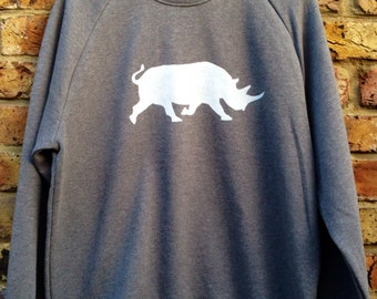 Rhino Sweatshirt - printed sweatshirt, rhino hand stenciled, casual grey sweatshirt