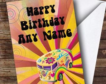 Retro Campervan Hippie Personalised Birthday Card