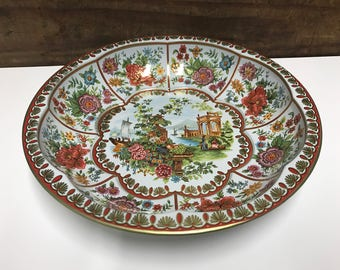 Vintage 1971 Dahar Tray, Dahar Decorated Ware, Vintage Floral Tray, 70's Floral Tray, Vintage Serving Tray, Asian Serving Tray