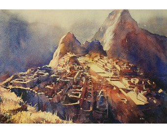 Incan ruins of Machu Picchu at dawn in the Sacred Valley, Peru. Machu Picchu painting.  Watercolor painting Machu Picchu.  Peru art