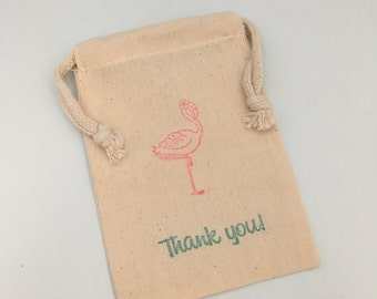 Pink Flamingo Favor Bags: Blue and Pink Flamingo Party Supplies