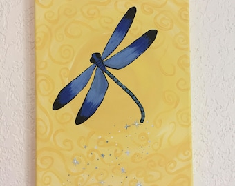 Painting, Original Painting, Art, Dragonfly Painting, Blue Dragonfly w/Yellow Swirled Background, Canvas Painting, Spring Decor, 12 X 9