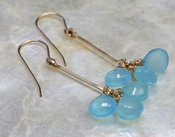 Chalcedony Earrings - Aqua Earrings - Dangle Earrings- Ready to Ship -