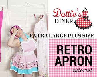 Apron Tutorial and Pattern PDF Size Extra LARGE Apron Retro 50s Apron Sewing Tutorial Digital Instant Download
